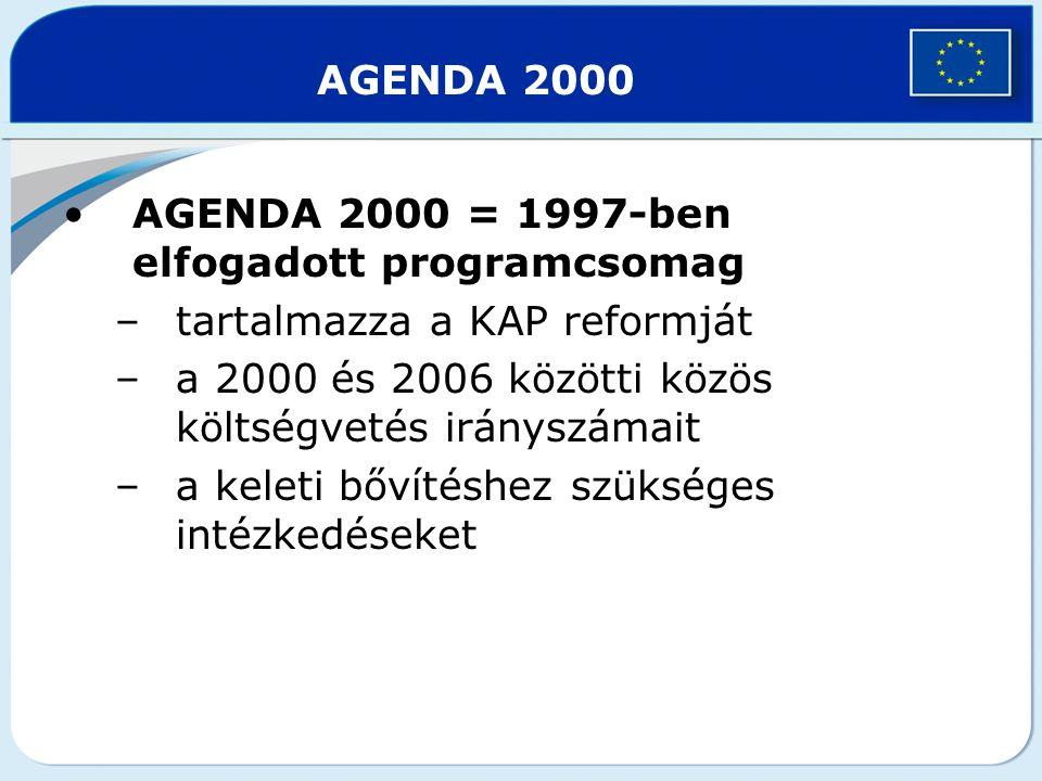AGENDA 2000 AGENDA 2000 = 1997-ben elfogadott programcsomag. tartalmazza a KAP reformját. a 2000 és 2006 közötti közös költségvetés irányszámait.