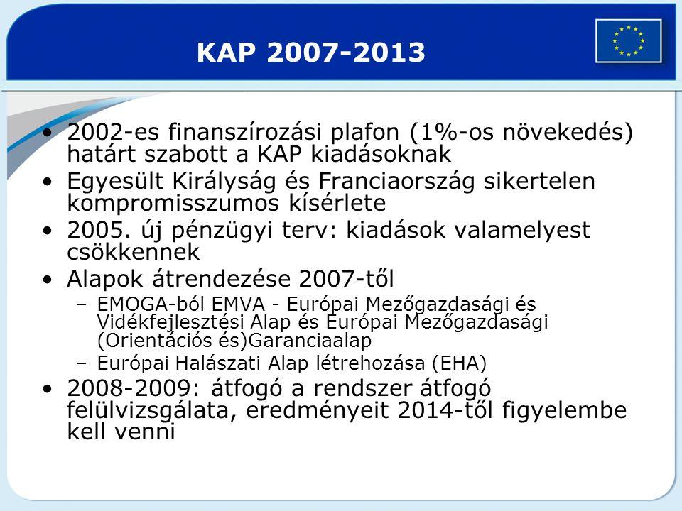 KAP 2007-2013 2002-es finanszírozási plafon (1%-os növekedés) határt szabott a KAP kiadásoknak.