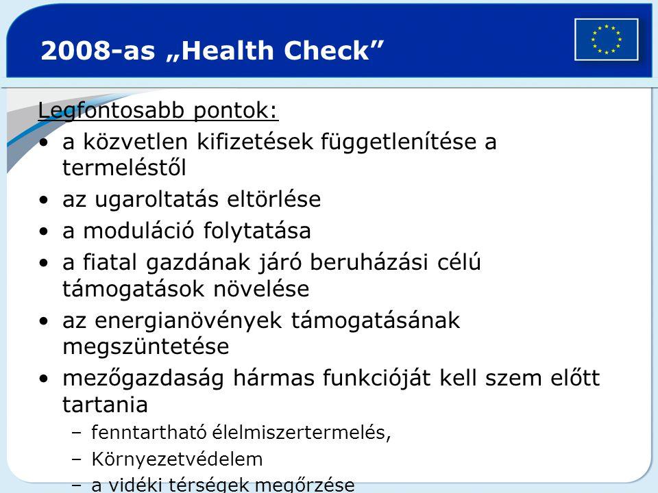 "2008-as ""Health Check Legfontosabb pontok:"