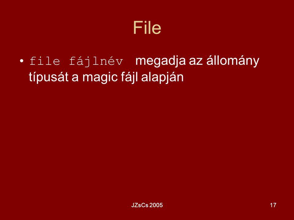 File file fájlnév megadja az állomány típusát a magic fájl alapján