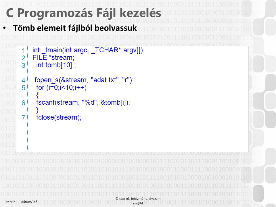C Programozás Fájl kezelés