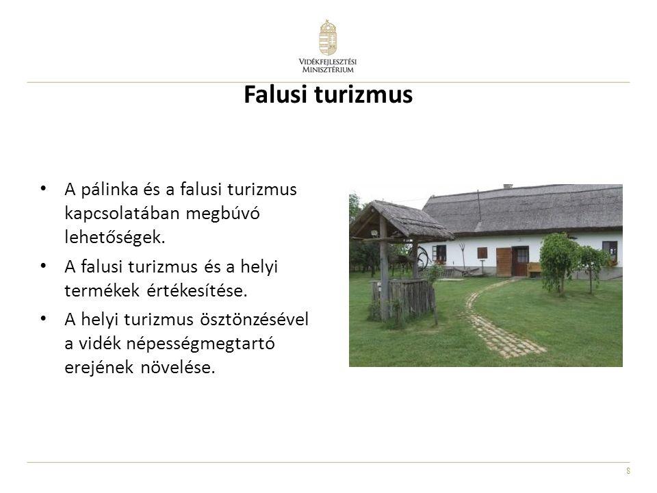 Falusi turizmus A pálinka és a falusi turizmus kapcsolatában megbúvó lehetőségek. A falusi turizmus és a helyi termékek értékesítése.