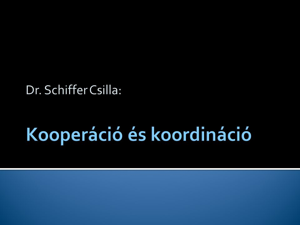 Dr. Schiffer Csilla: Kooperáció és koordináció