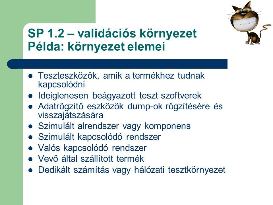 SP 1.2 – validációs környezet Példa: környezet elemei