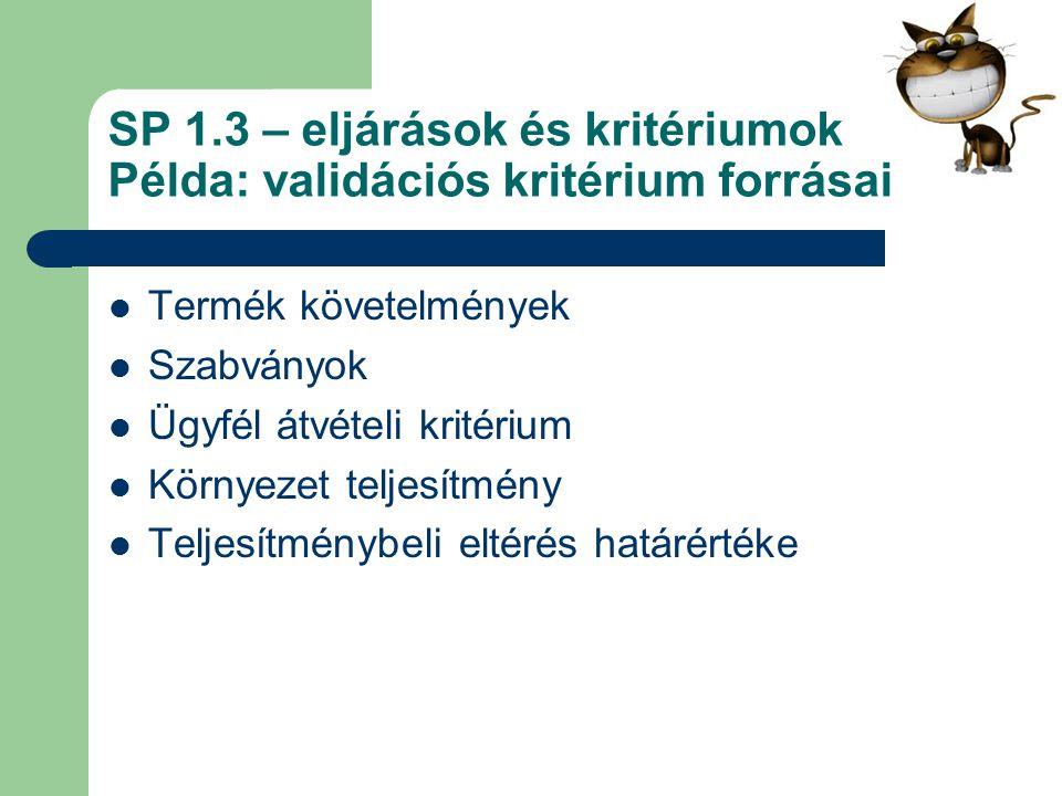 SP 1.3 – eljárások és kritériumok Példa: validációs kritérium forrásai