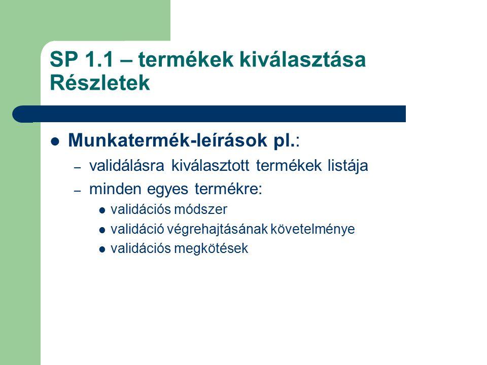SP 1.1 – termékek kiválasztása Részletek