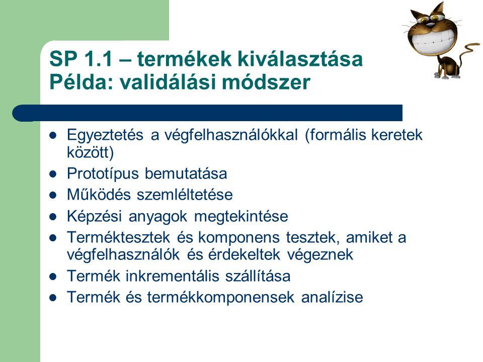 SP 1.1 – termékek kiválasztása Példa: validálási módszer
