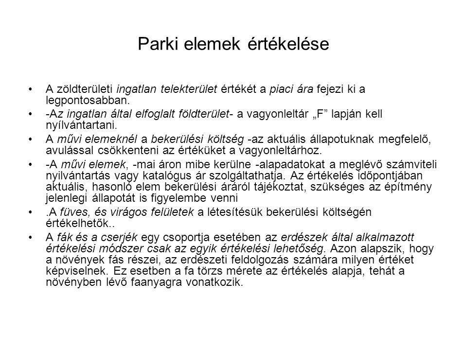 Parki elemek értékelése