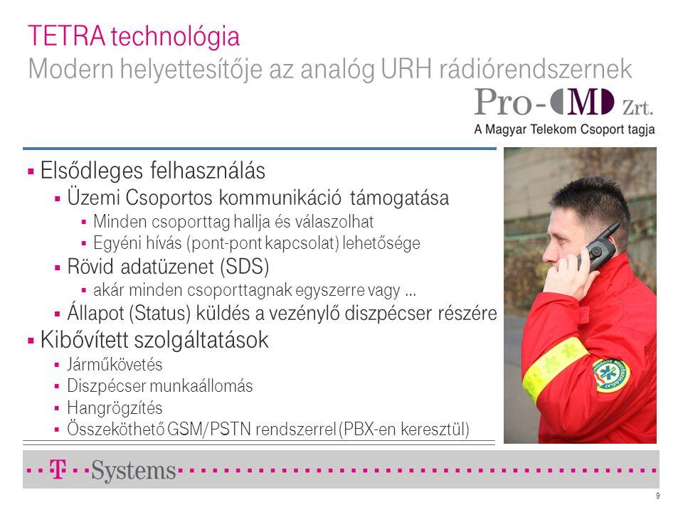 TETRA technológia Modern helyettesítője az analóg URH rádiórendszernek