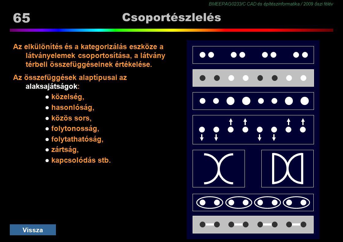 Csoportészlelés Az elkülönítés és a kategorizálás eszköze a látványelemek csoportosítása, a látvány térbeli összefüggéseinek értékelése.