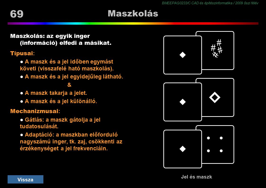 Maszkolás Maszkolás: az egyik inger (információ) elfedi a másikat. Típusai: ● A maszk és a jel időben egymást követi (visszafelé ható maszkolás).