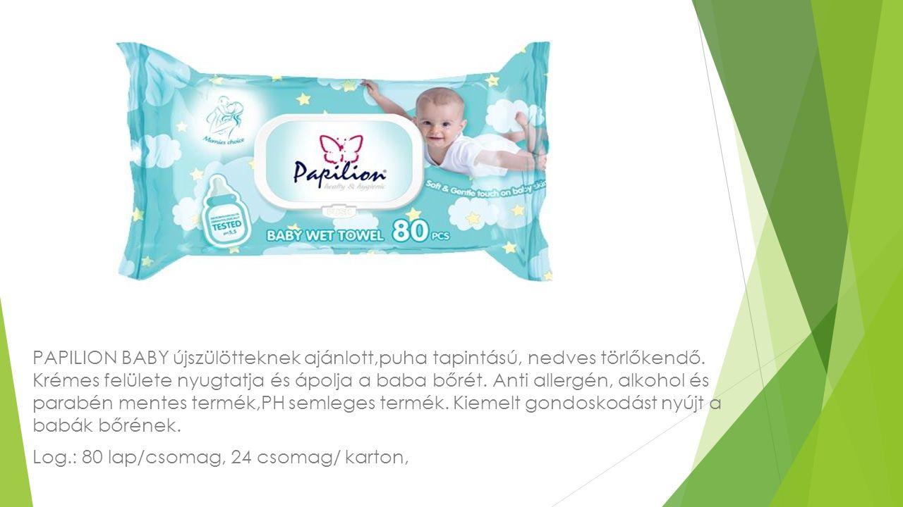 PAPILION BABY újszülötteknek ajánlott,puha tapintású, nedves törlőkendő. Krémes felülete nyugtatja és ápolja a baba bőrét. Anti allergén, alkohol és parabén mentes termék,PH semleges termék. Kiemelt gondoskodást nyújt a babák bőrének.