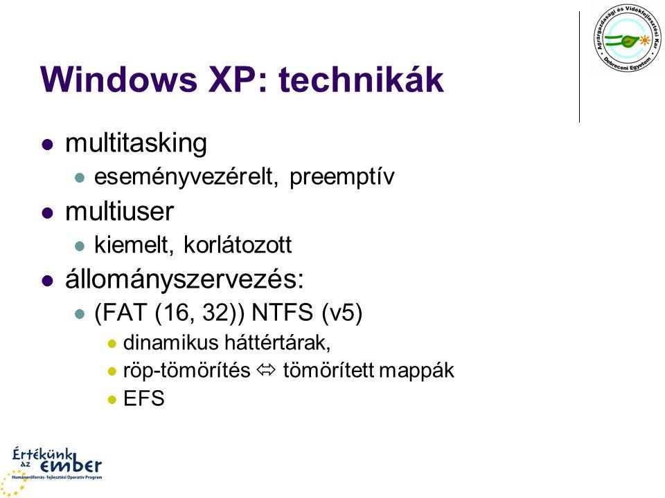 Windows XP: technikák multitasking multiuser állományszervezés: