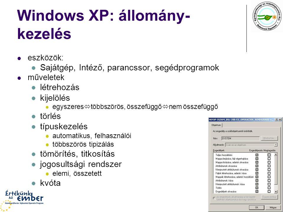Windows XP: állomány-kezelés