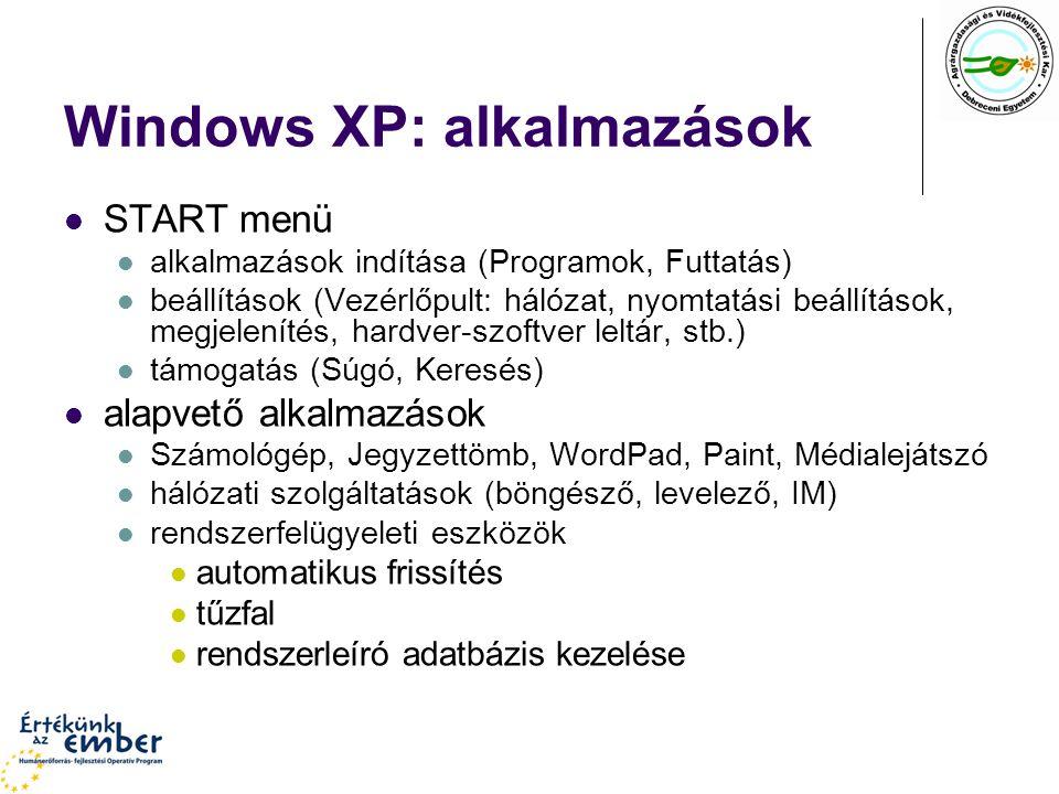 Windows XP: alkalmazások