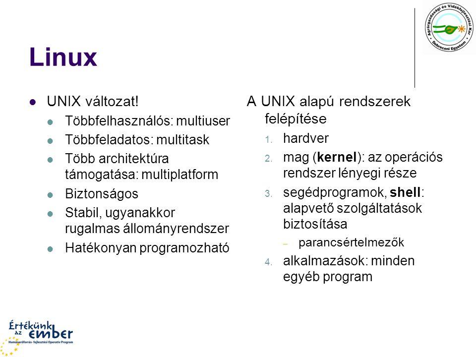 Linux UNIX változat! A UNIX alapú rendszerek felépítése