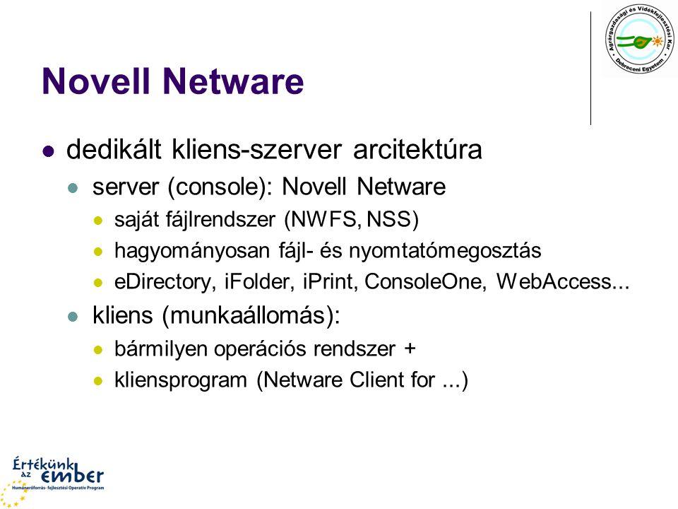 Novell Netware dedikált kliens-szerver arcitektúra