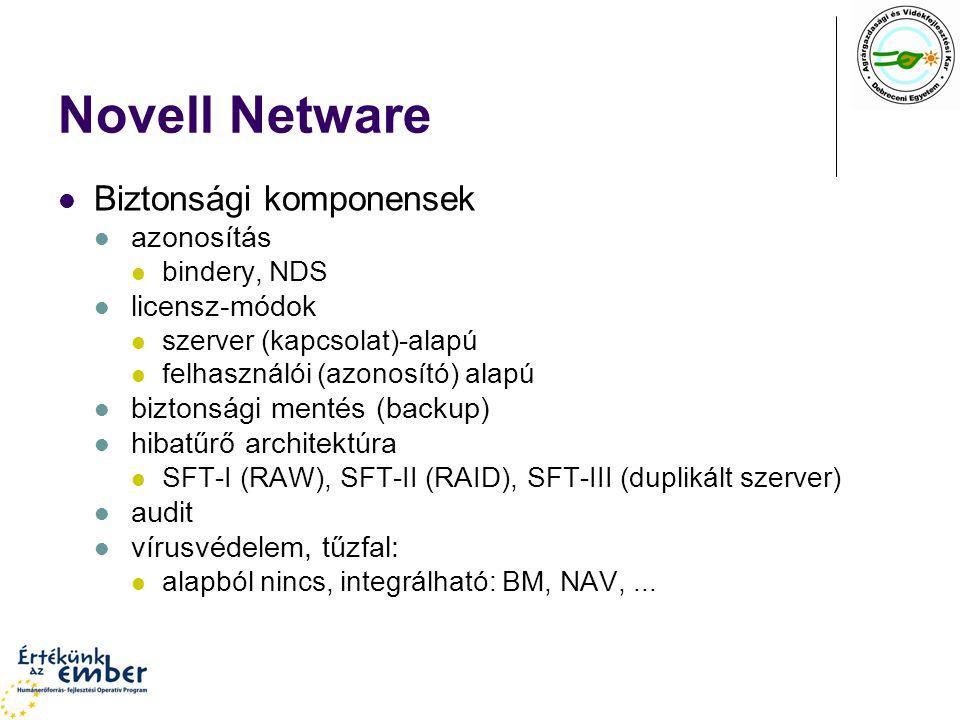 Novell Netware Biztonsági komponensek azonosítás licensz-módok