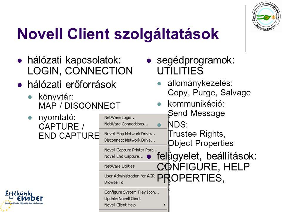 Novell Client szolgáltatások