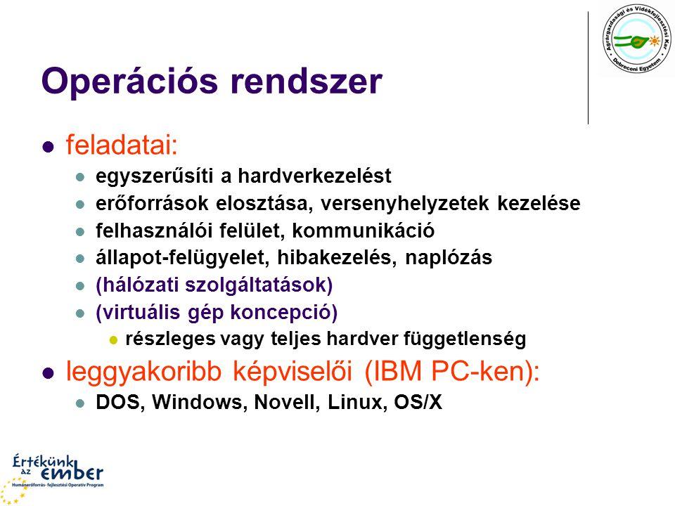 Operációs rendszer feladatai: leggyakoribb képviselői (IBM PC-ken):