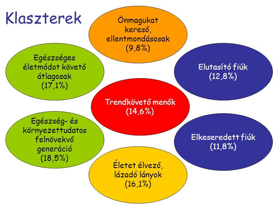 Klaszterek Önmagukat kereső, ellentmondásosak (9,8%)