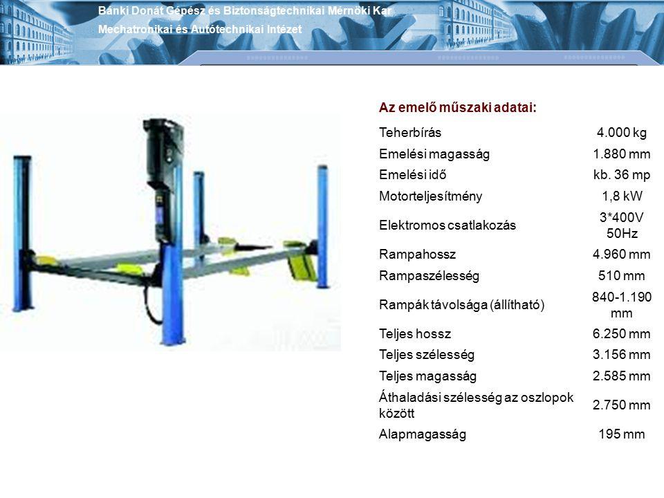 Az emelő műszaki adatai: Teherbírás 4.000 kg Emelési magasság 1.880 mm