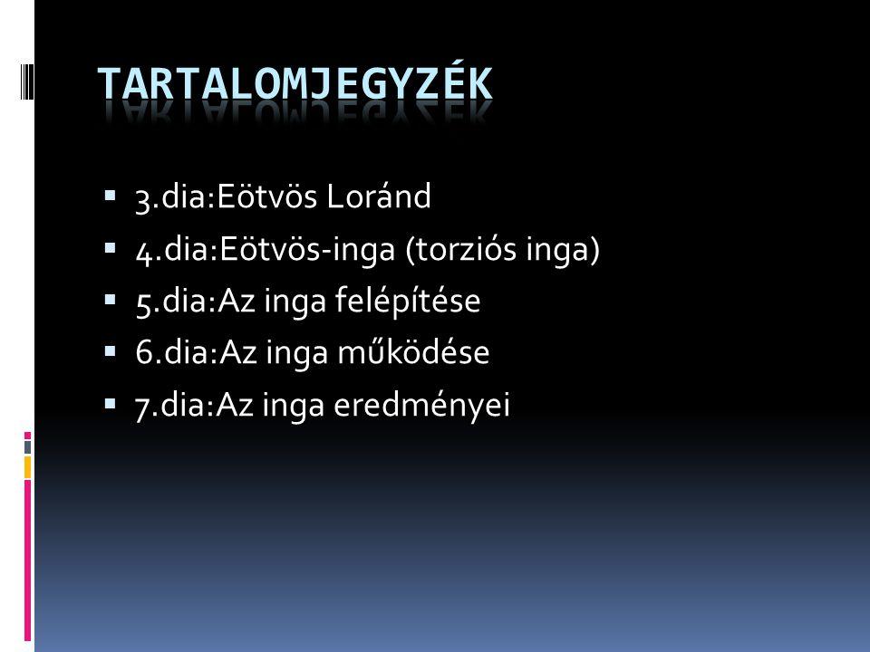 Tartalomjegyzék 3.dia:Eötvös Loránd 4.dia:Eötvös-inga (torziós inga)