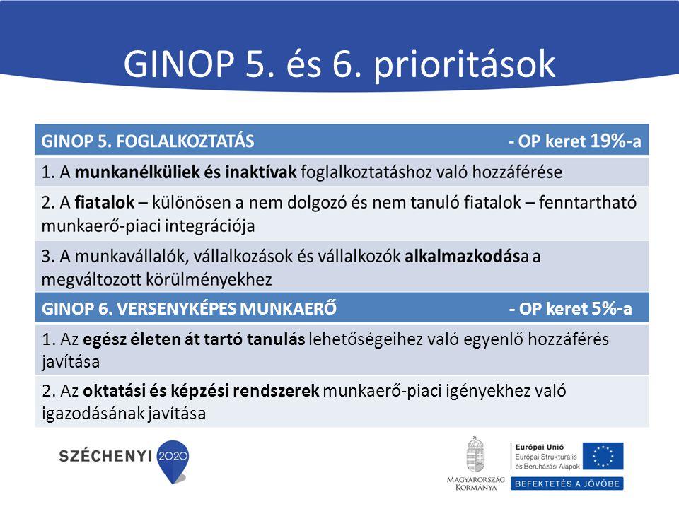 GINOP 5. és 6. prioritások GINOP 6. VERSENYKÉPES MUNKAERŐ - OP keret 5%-a.