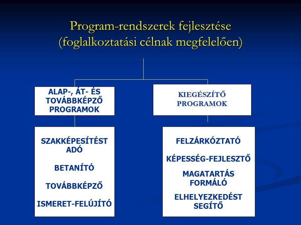 Program-rendszerek fejlesztése (foglalkoztatási célnak megfelelően)