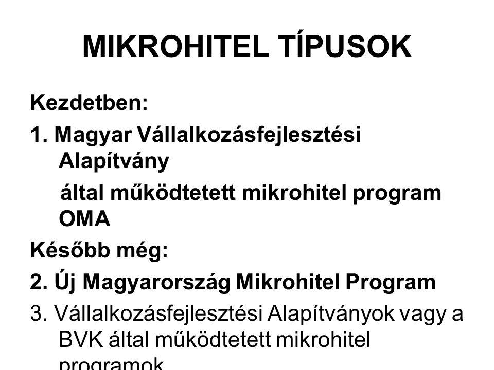 MIKROHITEL TÍPUSOK Kezdetben: