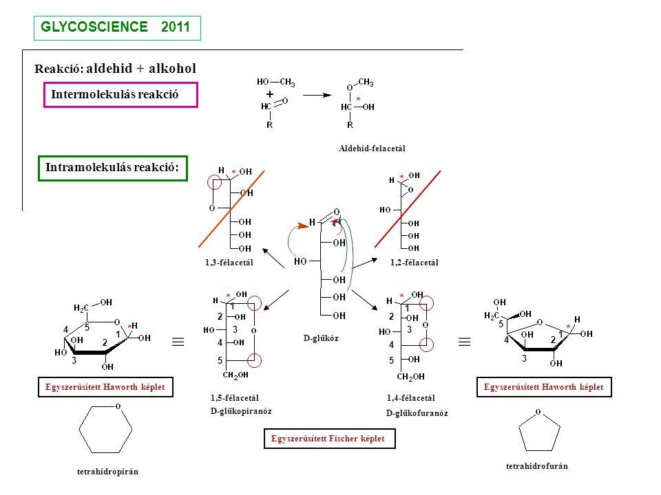 ≡ ≡ GLYCOSCIENCE 2011 Reakció: aldehid + alkohol