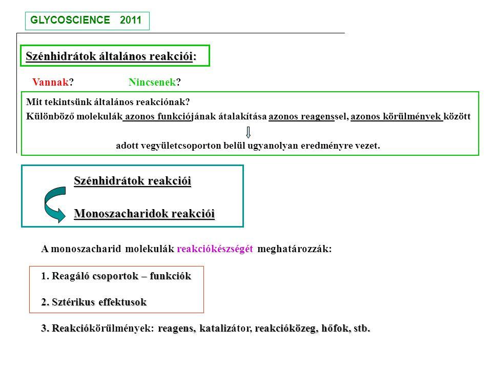Szénhidrátok reakciói Monoszacharidok reakciói