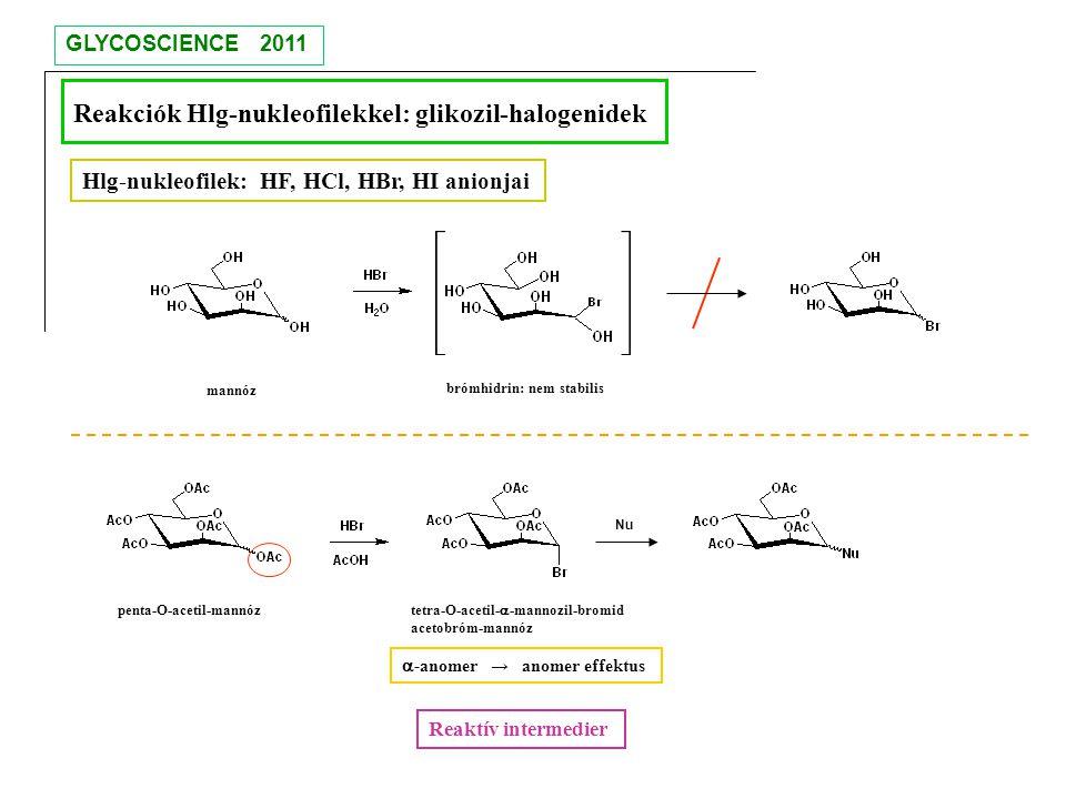 Reakciók Hlg-nukleofilekkel: glikozil-halogenidek