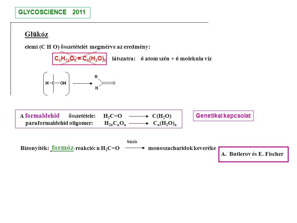 GLYCOSCIENCE 2011 Glükóz. elemi (C H O) összetételét megmérve az eredmény: C6H12O6 = C6(H2O)6 látszatra: 6 atom szén + 6 molekula víz.