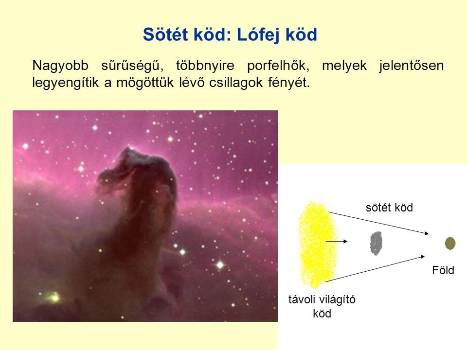 Sötét köd: Lófej köd Nagyobb sűrűségű, többnyire porfelhők, melyek jelentősen legyengítik a mögöttük lévő csillagok fényét.
