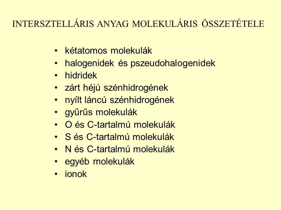 INTERSZTELLÁRIS ANYAG MOLEKULÁRIS ÖSSZETÉTELE