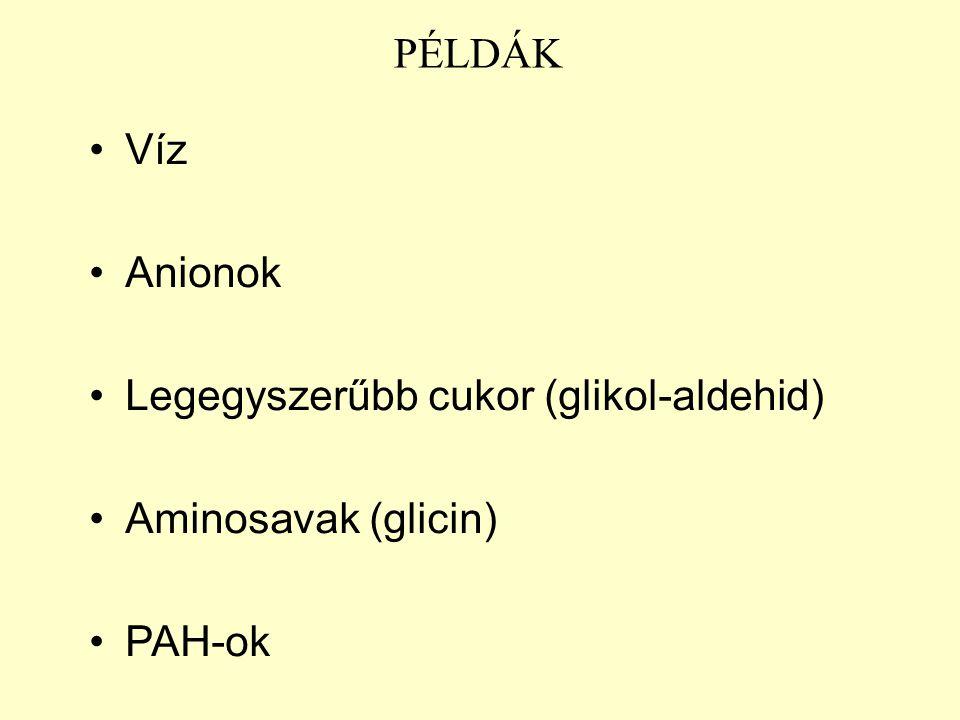 PÉLDÁK Víz Anionok Legegyszerűbb cukor (glikol-aldehid) Aminosavak (glicin) PAH-ok