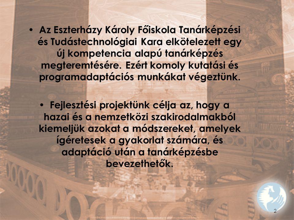 Az Eszterházy Károly Főiskola Tanárképzési és Tudástechnológiai Kara elkötelezett egy új kompetencia alapú tanárképzés megteremtésére. Ezért komoly kutatási és programadaptációs munkákat végeztünk.