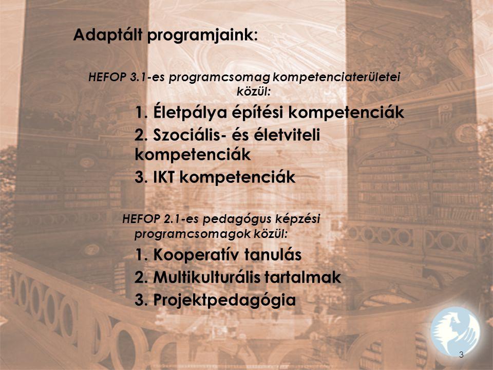 HEFOP 3.1-es programcsomag kompetenciaterületei közül: