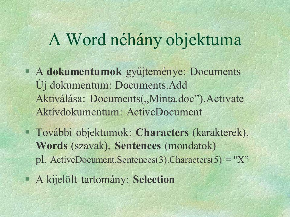 A Word néhány objektuma