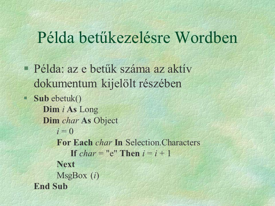 Példa betűkezelésre Wordben