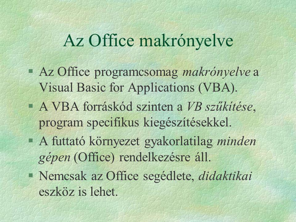 Az Office makrónyelve Az Office programcsomag makrónyelve a Visual Basic for Applications (VBA).