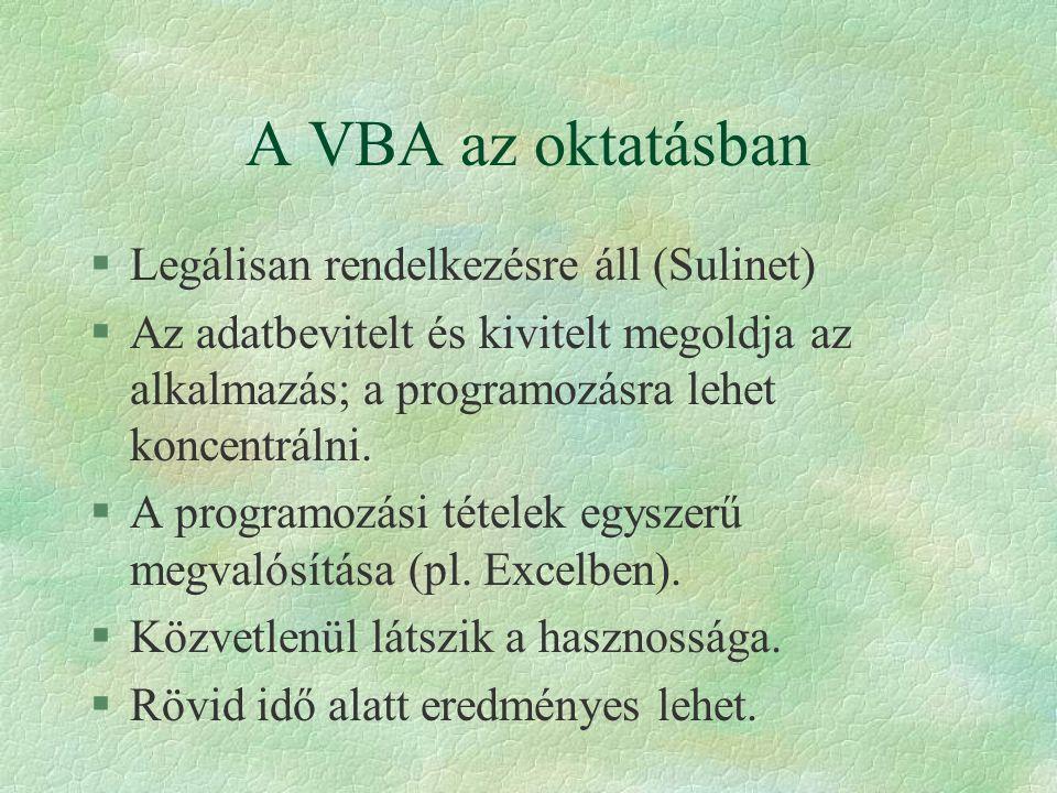 A VBA az oktatásban Legálisan rendelkezésre áll (Sulinet)