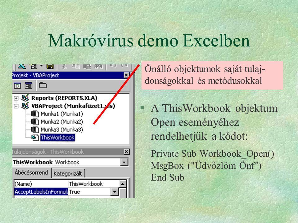 Makróvírus demo Excelben