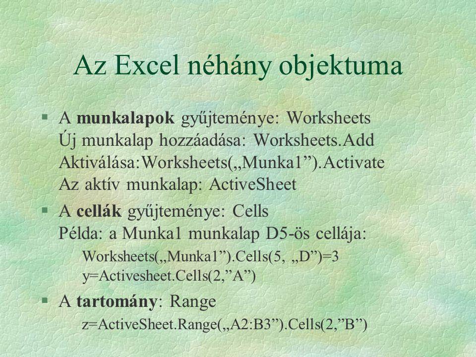 Az Excel néhány objektuma