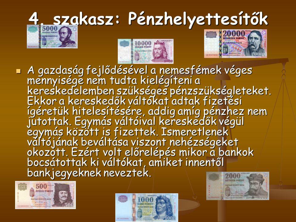 4. szakasz: Pénzhelyettesítők