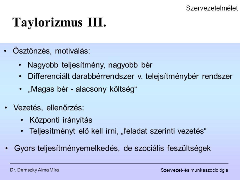 Taylorizmus III. Ösztönzés, motiválás: