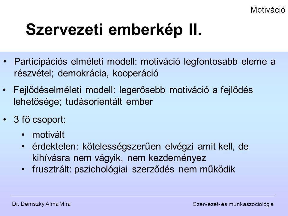 Szervezeti emberkép II.