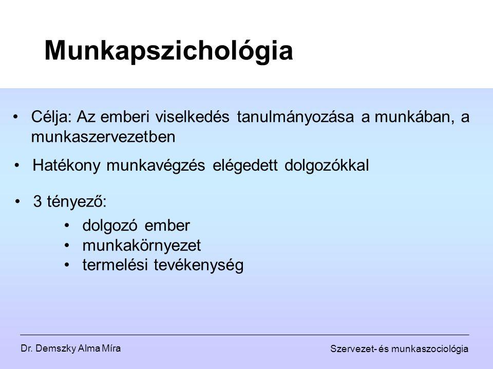 Munkapszichológia Célja: Az emberi viselkedés tanulmányozása a munkában, a munkaszervezetben. Hatékony munkavégzés elégedett dolgozókkal.