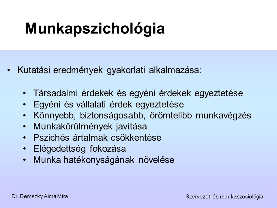 Munkapszichológia Kutatási eredmények gyakorlati alkalmazása: